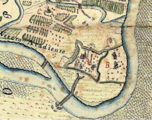 Vechea cetate a Aradului intr-o harta din 1753 Sursa: www.cetati.medievistica.ro