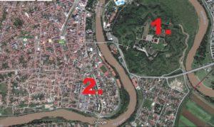 1. Actuala Cetate a Aradului 2. Locul vechii Cetati Sursa: Google Maps